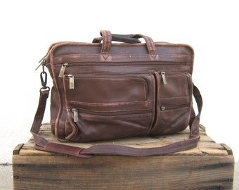 Briefcase Brown Leather Distressed Leather Expandable Messenger Bag