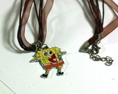 Yellow Shouting Spongebob Squarepants Ribbon Necklace with Large Hole Charm - Spongebob Necklace - Kids Jewelry