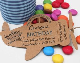 x10 Boys Birthday Party Invites Invitations Aeroplane tags Personalised