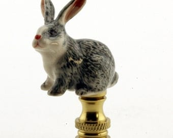 LAMP FINIAL ceramic Gray Rabbit