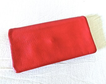 vintage red leather wallet - 1950s-60s St. Thomas red leather pocketbook wallet