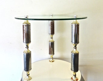 vintage floating-glass atomic table - 1960s mid century round glass-top accent table
