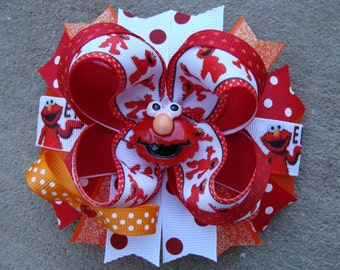 Elmo Hair Bow Large Elmo Hair bow - Red and Orange Hair Bow Boutique hair bow