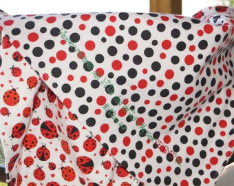 The Bugs are Lose, 2-Sided Flannel Embroidered Baby Blanket, Lady Bugs, Red n Black Dots, Matthew, Bible Verse Blanket, Scripture Blanket
