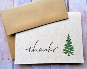 Rustic Thank You Cards Woodland Pine Trees Thanks