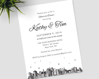 New York City Skyline Rehearsal Dinner invitations, can be customized for any occasion; includes envelopes and return address printing