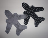 2 Iron On Boy Applique Black Stars Gray JET AIRPLANE