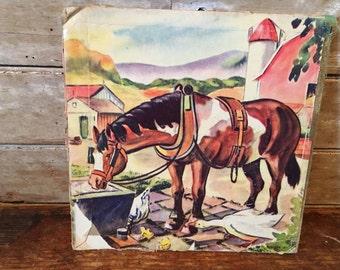 Vintage Horse Press Hardboard  1940s