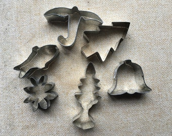 Vintage Miniature Cookie Cutters  Lot of 6