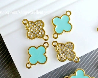 Bracelet connector, Enamel, Rhinestone, Gold plated Double-sided Metal Clover Connector in baby blue color-