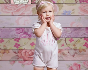 Monogrammed Romper, Baby Romper, Easter Romper, Toddler Girl Easter Boutique, White Romper, Beach Outfit