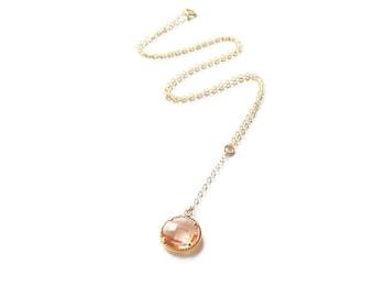 Peach necklace Bridesmaid necklace Gold Y necklace Bridesmaid gift Bridesmaid jewelry Lariat Champagne necklace Gold necklace Drop necklace