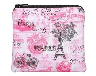 Paris Theme Square Zipper Pouch, Eiffel Tower Pink and Black Change Purse