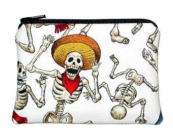 SALE - Day of the Dead Fiesta de los Muertos Small Zipper Pouch Coin Purse