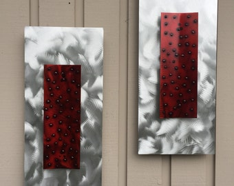 Red and Silver Metal Wall Art home decor abstract Sculpture by Holly Lentz