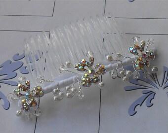 Shamrock Hair Comb Three Leaf Rhinestone Clovers with Wired Pearls, Beads Headpiece