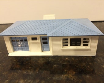 Vintage Plasticville One story Blue and White House