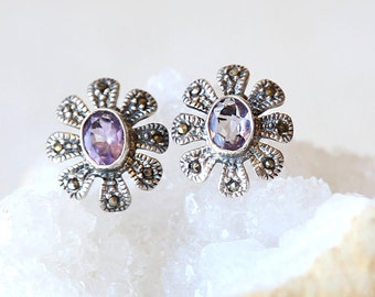 Vintage Amethyst and Marcasite Floral Earring Stud Posts