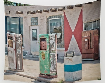 Wall Tapestry Wall Hanging Wall Art Midway Station Rt. 66 Adrian Texas Retro Gas Pumps