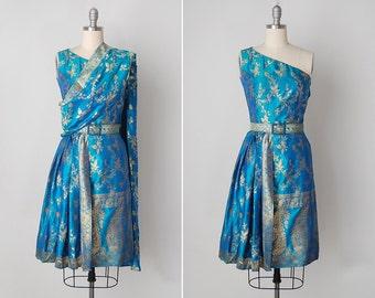 vintage 1950s dress / Indian sari dress / silk Indian dress / Nanda Devi dress