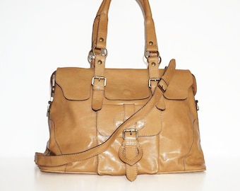 Glossy Genuine Leather Bag, Handbag, Tote, Shoulder Cross-body Purse Johanna L in glossy nude