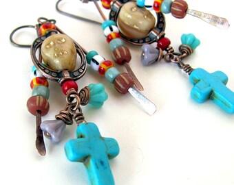 Day of the Dead jewelry Day of the Dead earrings Dia De Los Muertos southwestern jewelry turquoise cross dangle earrings niobium wires