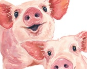 Pig Watercolor - 8x10 PRINT, Pig Illustration, Nursery Art, Happy Pigs, Animal Watercolour