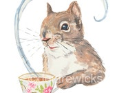 Squirrel Watercolor - 5x7 PRINT, Squirrel Painting, Tea Lover, Animal Watercolor, Illustration Print