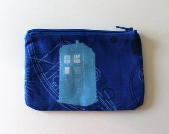 Police Box Zipper Pouch - Small Zip Pouch Coin Purse Wallet - made with upcycled repurposed British fabric
