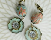 Tapestry Beads and Pale Aqua Flower Boho Earrings