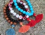 DESTASHING! Tassel Mala Bracelets, stretch bracelets, tassel bracelets, Zen bracelets