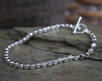 Silver beaded bracelet, silver hammered beaded bracelet, silver plated stacking bracelet, silver plated hammered beaded bracelet