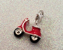 1 - 2 sided Red Scooter pendant or charm, Red Old Fashioned Scooter charm,  Motorcycle charm, Silver Plated charms
