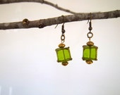 Green Gold Earrings Dangle Drop Earrings Green Glass Bead Asian Lantern