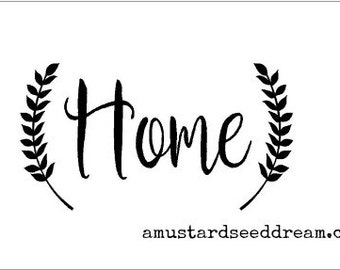 Home with Primitive Vine on the Sides - Vinyl Wall Art, Graphics, Lettering, Decals, Stickers