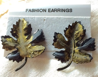 Earrings Gold, Black Enameled Metal Leaf Vintage Pierced Autumn Fall Nature NOS New Old Stock