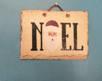 Hanging Slate Noel Santa Sign Decor Vintage 1990's Christmas Decorations