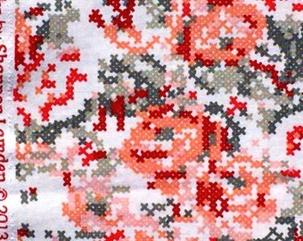 Hipster cross stitch floral red gray Riley Blake fabrics FQ or more