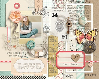 Key to My Heart - Digital Scrapbooking Elements for Spring, Girl, Wedding, Baby INSTANT DOWNLOAD