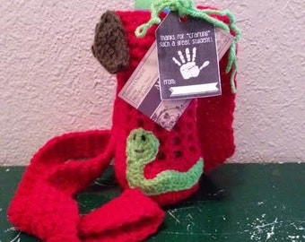 Red Water Bottle Holder-Cozy-Apple Leaves-Worm-Handmade-Made To Order