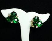 Emerald Green Rhinestone Earrings - Vintage Converted for Pierced Ears