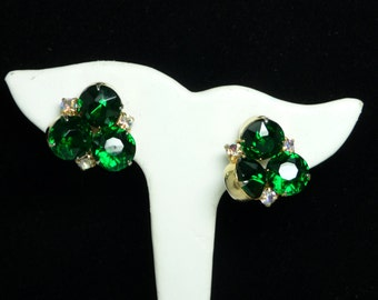 Emerald Green Rhinestone Earrings - Vintage Converted for Pierced Ears