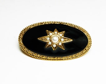 Black Victorian Oval Brooch - Revival Jewelry by 1928 Jewelry Company - Pearlescent White Beads and Evening Star - Vintage Jewelry