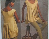 Designer Donna Karan Misses' Pleated Tunic Top and Pants Vogue 1039 Sewing Pattern UNCUT Sizes 8-10-12-14