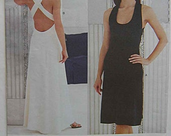 Calvin Klein Easy Dress in 2 Lengths, Evening Gown, Criss Cross Back Straps, Vogue 2278 Sewing Pattern UNCUT Sizes 8, 10, 12