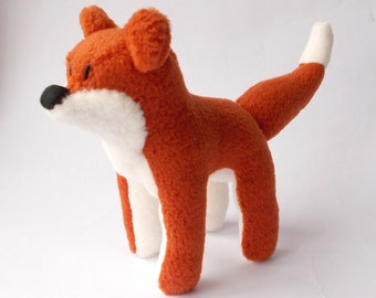 plush fox, fleece fox, toy fox, soft sculpture fox, fox cub, stuffed fox, fox doll, stuffed animal, woodland animal, art doll, plush art