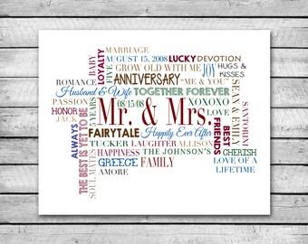Custom Word Cloud | 16 x 20 Digital Print | Perfect for Teacher Gift, Anniversary Gift, Wedding
