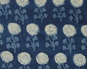 Hand Printed Cotton Fabric - Indigo - Floral Motifs - 1 Yard ctjp230