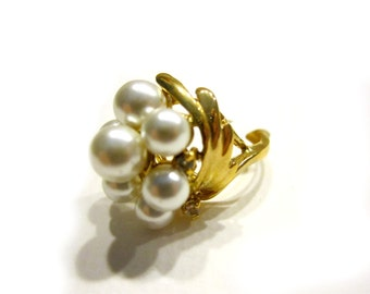 Pearl Cluster Ring Gold Pearls Rhinestone Ring Size 6 NOS with Tag Gift for Her Wedding Formal Ring