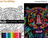 50% Off- Tiger coloring, Animal coloring book, adult coloring book, coloring pages, adult coloring pages, coloring book for adults, printabl